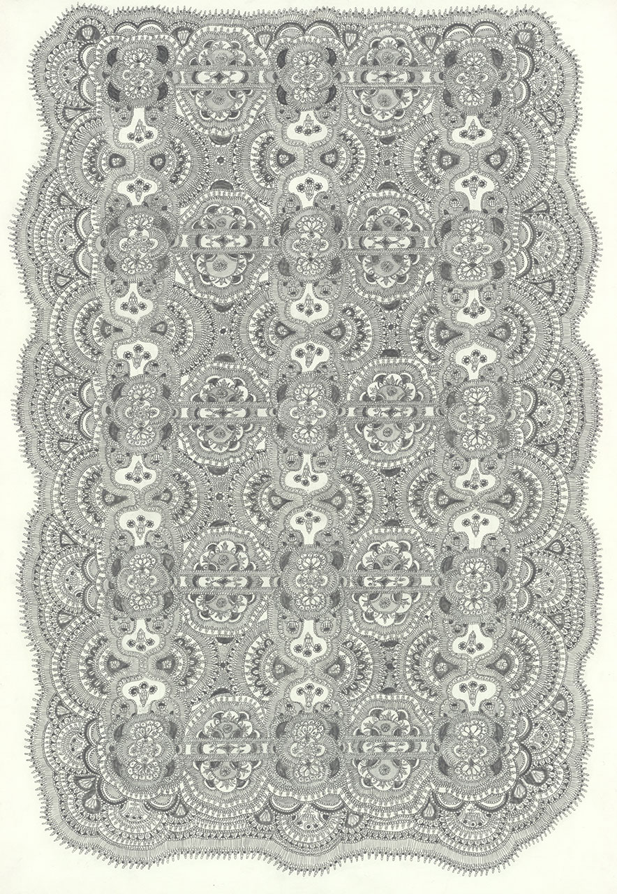 drawing pencil paper detail contemporary patrick roman scherer ornament vienna fine art  carpet pattern