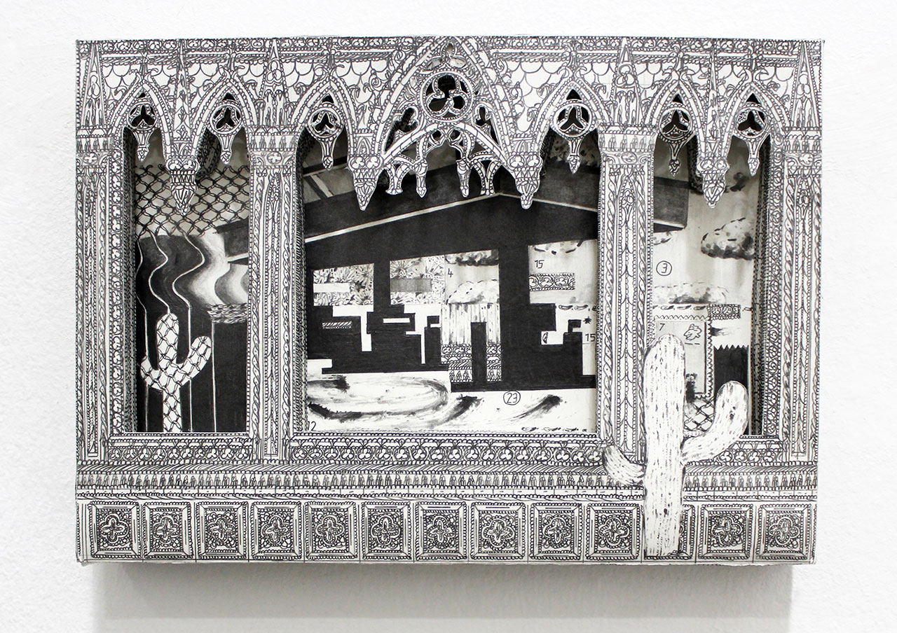 drawing pencil paper zeichnung detail contemporary patrick roman scherer ornament vienna fine art medieval gothic architecture cactus gasoline station desert cut out fragile object shrine pattern