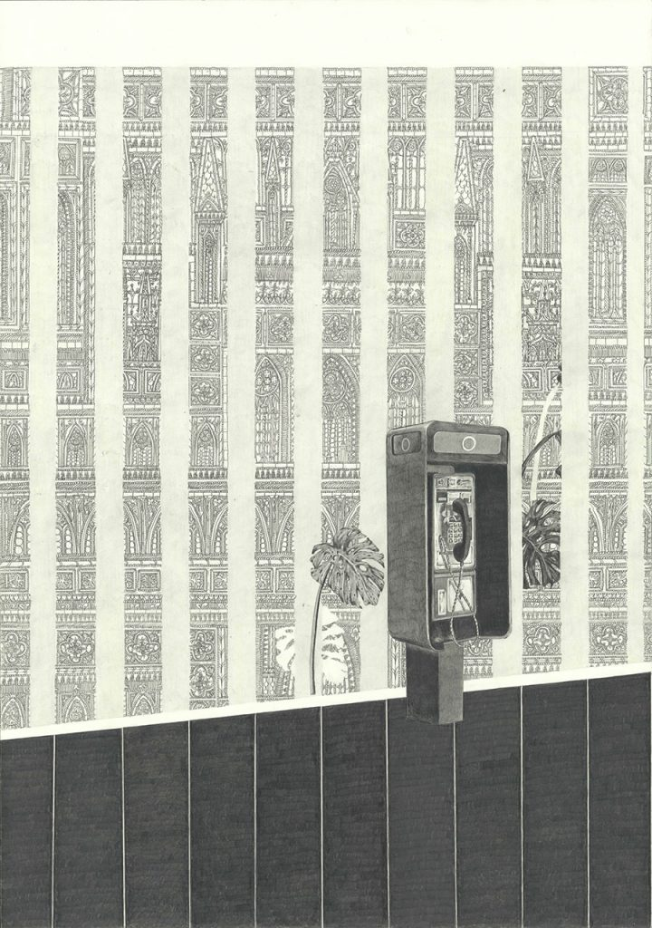 drawing pencil paper zeichnung detail contemporary patrick roman scherer ornament vienna pattern telephone stripes medieval gothic monstera pinstripe