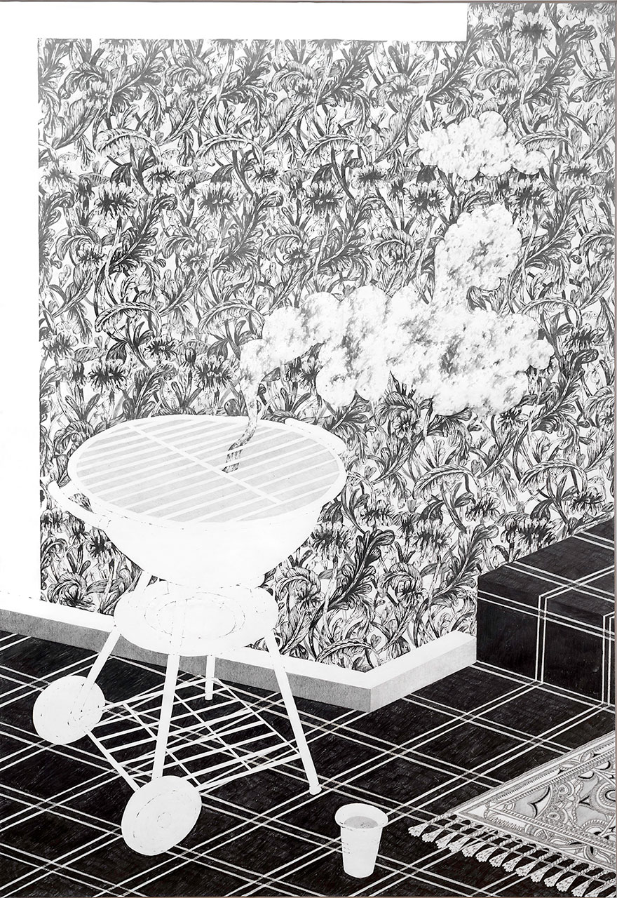 drawing pencil paper zeichnung detail contemporary patrick roman scherer ornament vienna fine art tapestry bbq barbecue griller tiles carpet pattern
