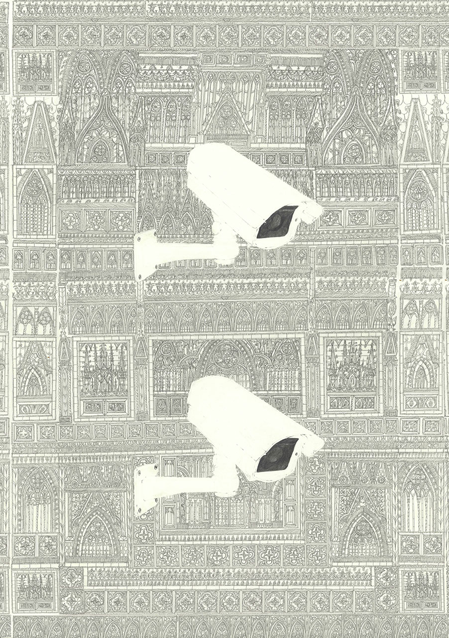 drawing pencil paper zeichnung detail contemporary patrick roman scherer ornament vienna fine art medieval gothic architecture spy cctv camera shrine pattern