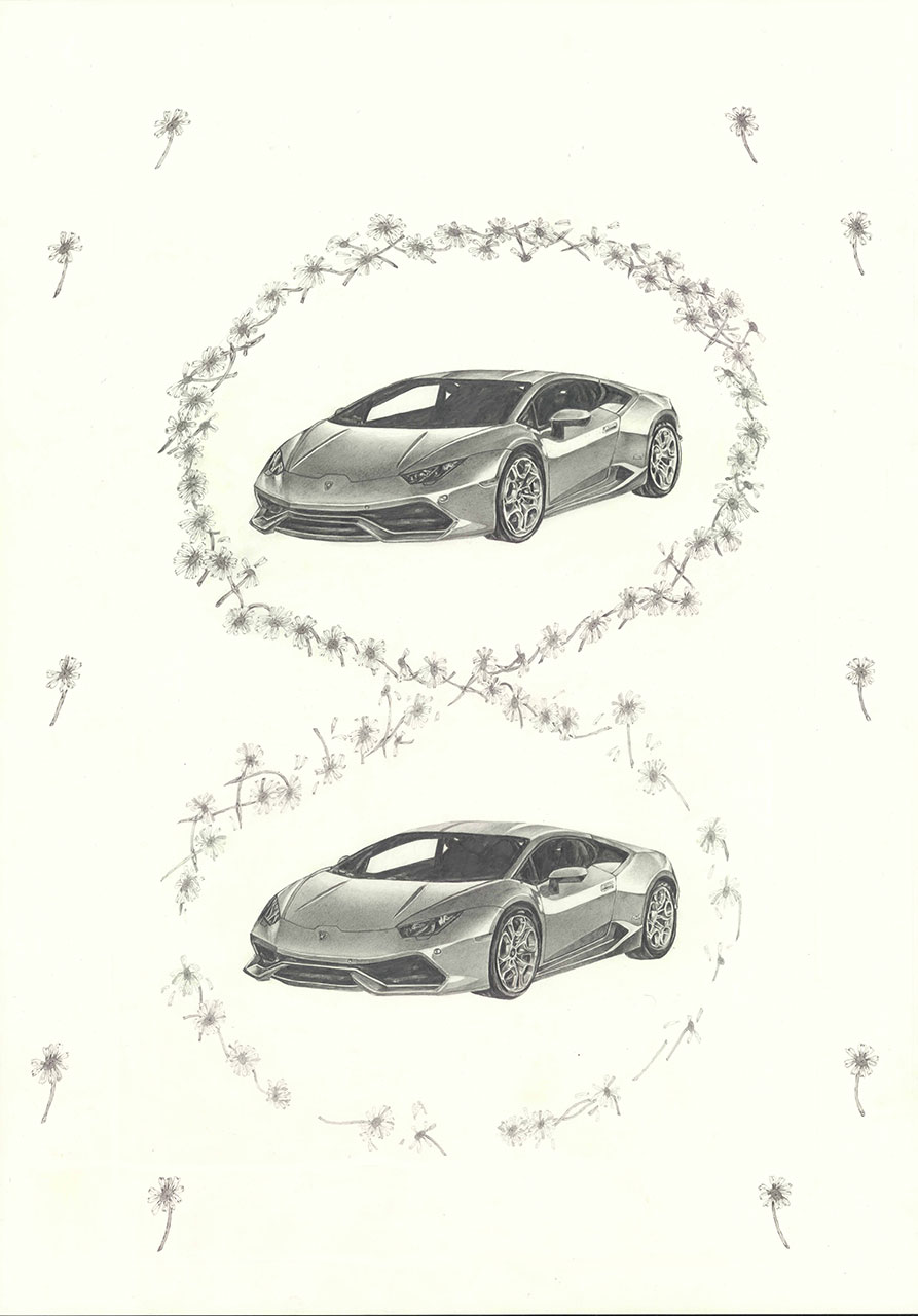 drawing pencil paper detail contemporary patrick roman scherer vienna fine daisy chain lamborghini pattern