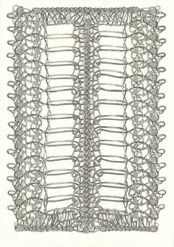 drawing pencil paper zeichnung detail contemporary patrick roman scherer ornament vienna fine art uniform braid  pattern