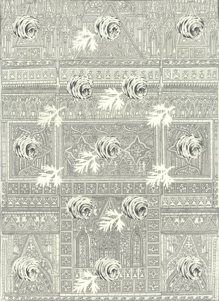 drawing pencil paper zeichnung detail contemporary patrick roman scherer ornament vienna fine art medieval gothic architecture parsley butter curl shrine pattern
