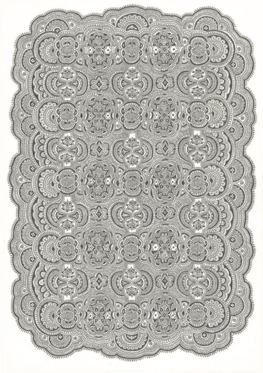 drawing pencil paper zeichnung detail contemporary patrick roman scherer ornament vienna fine art  carpet pattern