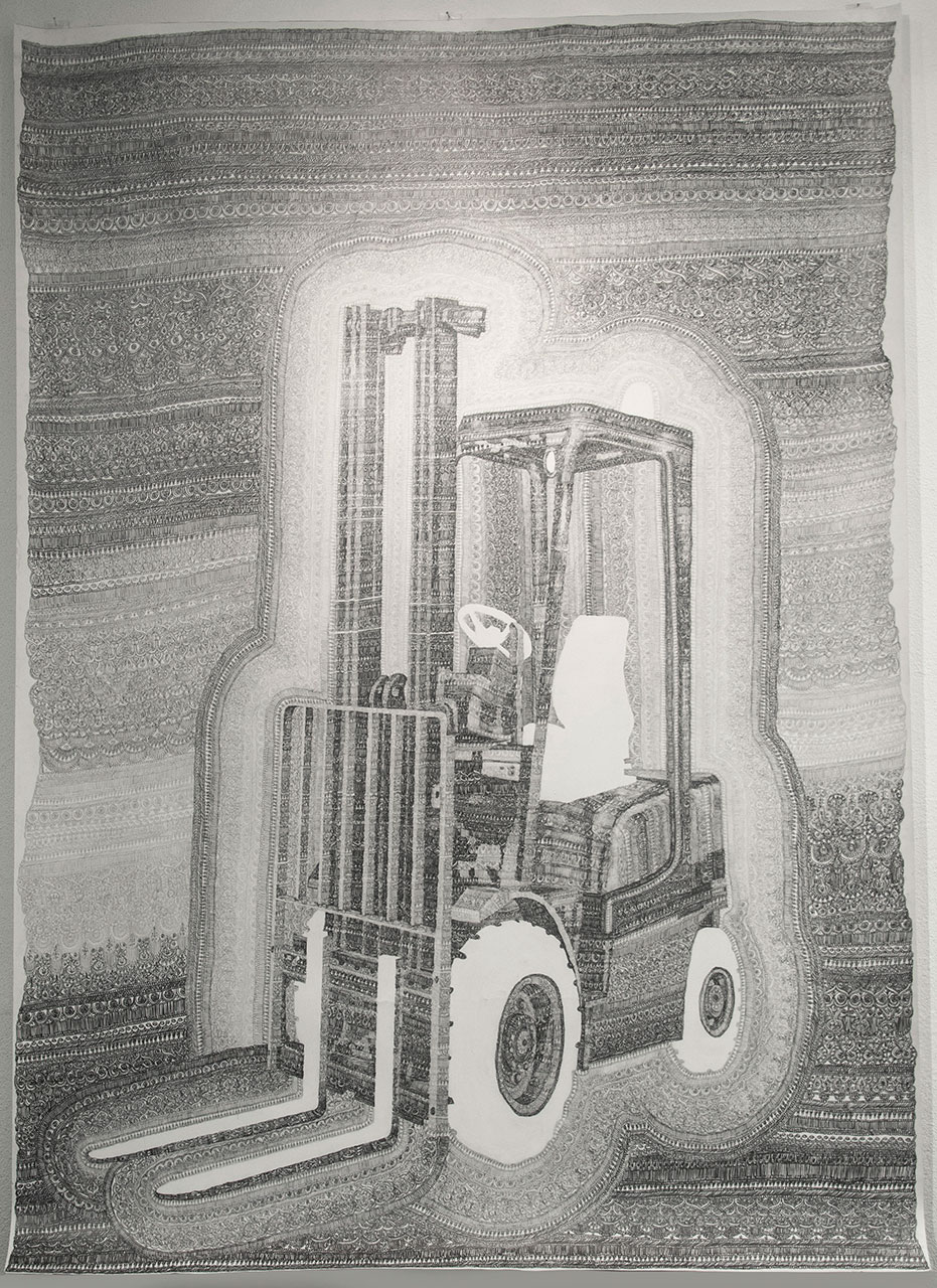 drawing pencil detail contemporary patrick roman scherer ornament vienna fine art forklift Gabelstapler carpet pattern