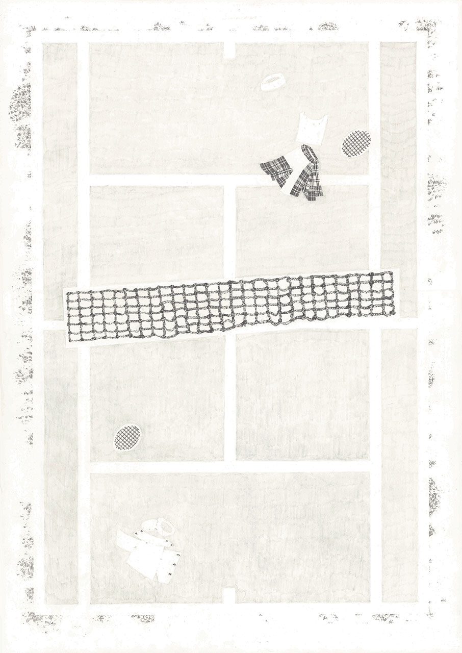 drawing zeichnung pencil paper contemporary patrick roman scherer vienna fine art tennis court pattern