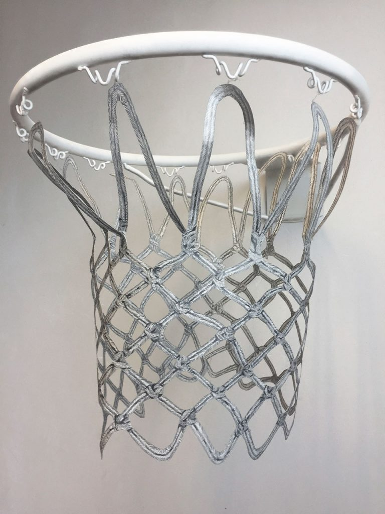drawing detail zeichnung  pencil paper contemporary patrick roman scherer cut out vienna fine art basketball hoop object installation fragile