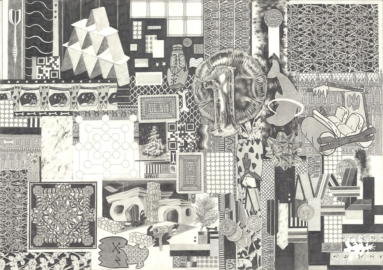 drawing pencil paper contemporary patrick roman scherer ornament vienna fine art patchwork pattern