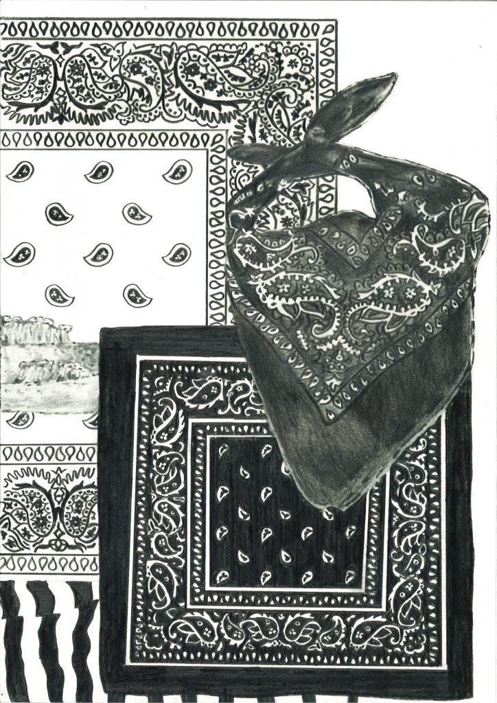 drawing pencil paper detail contemporary patrick roman scherer ornament vienna fine art installation object pattern bandana