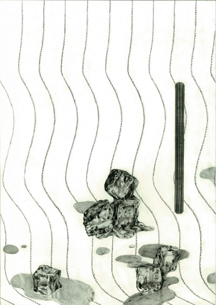 drawing pencil paper detail contemporary patrick roman scherer ornament vienna fine art installation object pattern graphite ice cube pinstripes