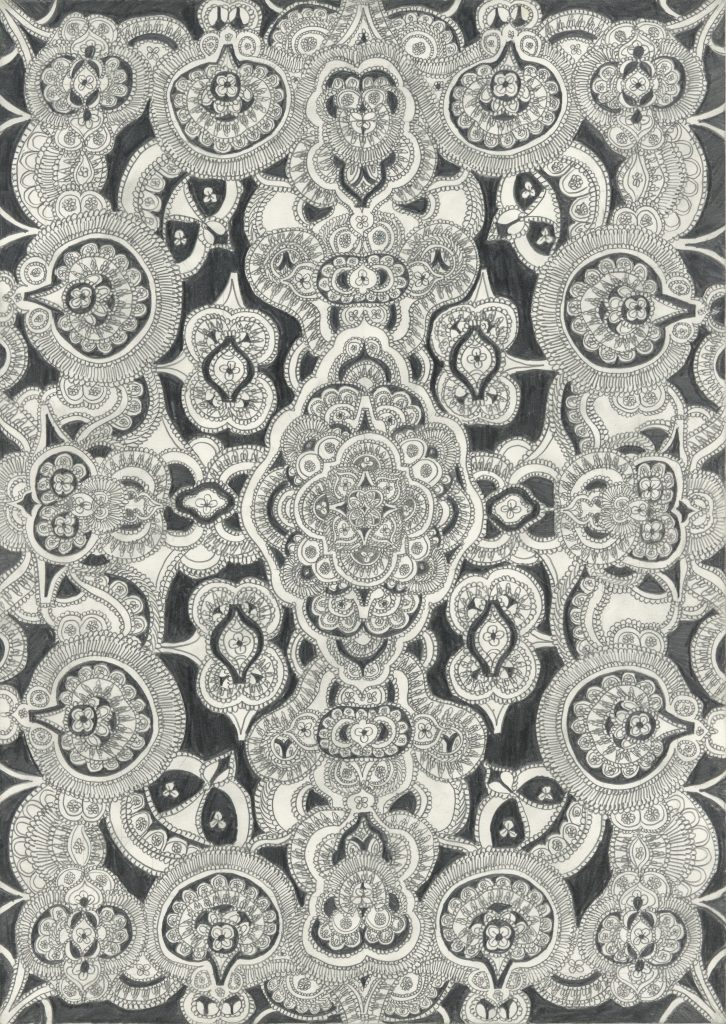 drawing pencil paper detail contemporary patrick roman scherer ornament vienna fine art installation object palmtree pattern